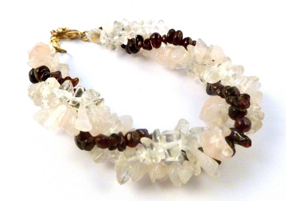 Garnet Rose Quartz And Clear Bead Twisted Bracelet